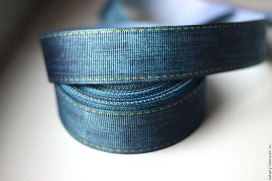 Шитье ручной работы. Ярмарка Мастеров - ручная работа. Купить Лента репсовая 22 мм «Джинсовая». Handmade. Лента