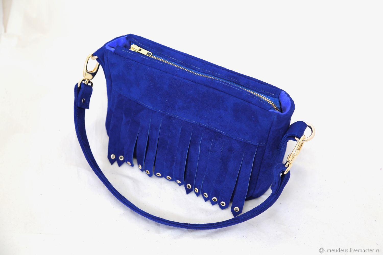 Blue Suede Handbag With Fringe On The Strap Art 382