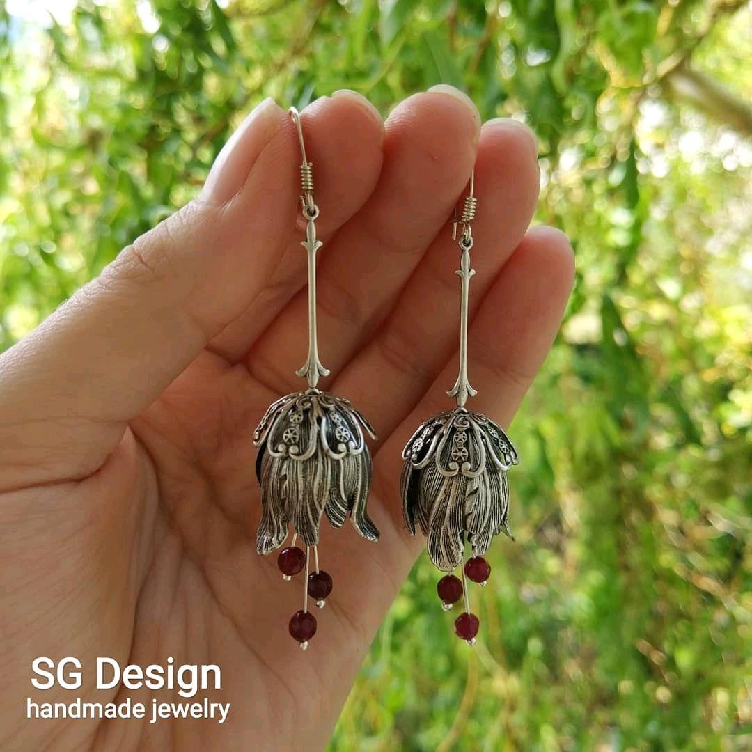 Earrings silver ', Floran' ruby flower silver shvenzy, Earrings, Yalta,  Фото №1