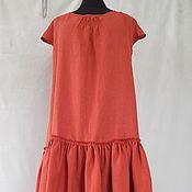 Одежда handmade. Livemaster - original item Dress - sundress brick-red linen, boho style. Handmade.