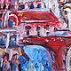 Живописный диптих «Готический город». Этюдная, объемная живопись. Фрагмент.