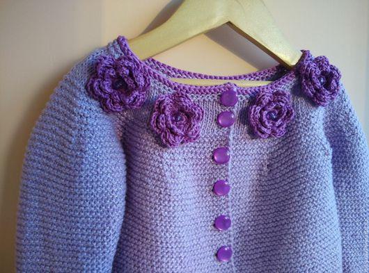 """Одежда для девочек, ручной работы. Ярмарка Мастеров - ручная работа. Купить Жакет """"Аромат Сирени"""". Handmade. Сиреневый, Жакет вязаный"""