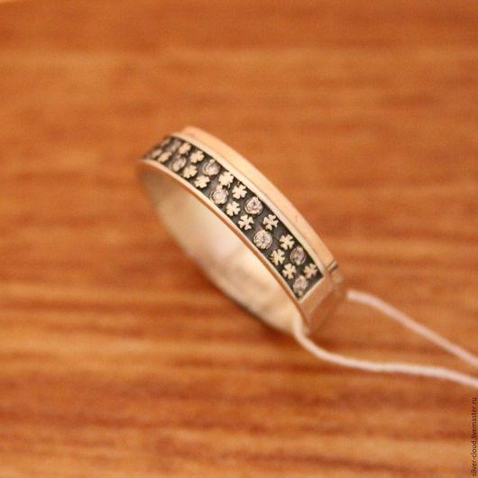 Кольца ручной работы. Ярмарка Мастеров - ручная работа. Купить Серебряное кольцо Клевер с золотыми накладками, серебро 925. Handmade.