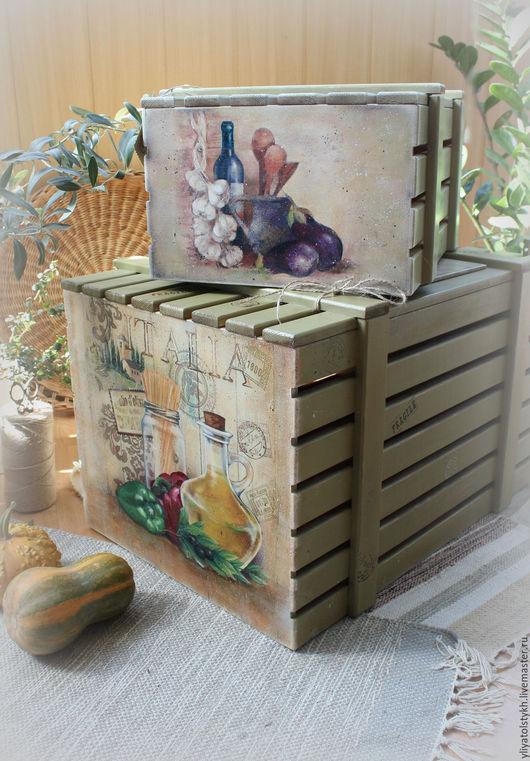 Кухня ручной работы. Ярмарка Мастеров - ручная работа. Купить Ящики для овощей. Handmade. Оливковый, деревенский интерьер, стиль прованс