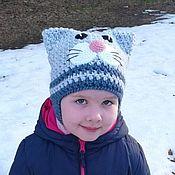 Шапка ручной работы. Ярмарка Мастеров - ручная работа Шапочка-кошка крючком для малышей. Handmade.