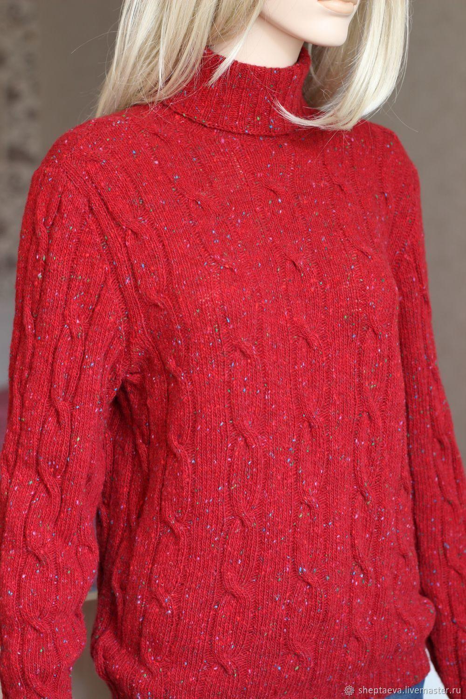 Кофты и свитера ручной работы. Ярмарка Мастеров - ручная работа. Купить Красный твидовый свитер с косами. Handmade. Свитер