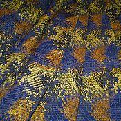 """Материалы для творчества ручной работы. Ярмарка Мастеров - ручная работа Вискоза плательная модный принт """"Хамелеон""""синий-желтый-коричневый. Handmade."""