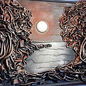"""Картины и панно ручной работы. Ярмарка Мастеров - ручная работа Панно из кожи """"Закат"""". Handmade."""