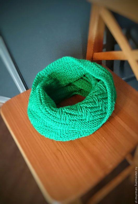 Шарфы и шарфики ручной работы. Ярмарка Мастеров - ручная работа. Купить Шарф Снуд. Handmade. Зеленый, шарф вязаный, зима