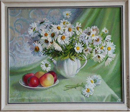 Авторская работа маслом в раме полевые цветы ромашки...Настроение лета,белоснежные лепестки и  искренняя радость!!!Картина для интерьера,картина в подарок.