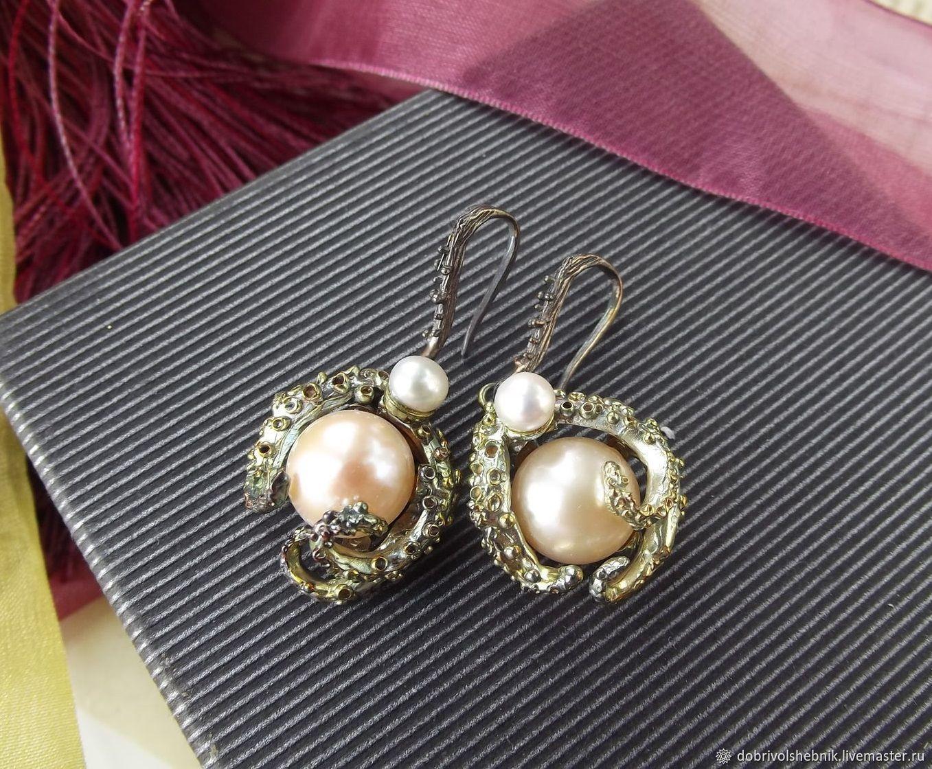 Earrings 'On distant shores' with pearls, Earrings, Novaya Usman,  Фото №1