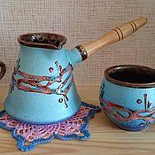 Для дома и интерьера ручной работы. Ярмарка Мастеров - ручная работа Набор: турка и 2 чашки керамика. Handmade.