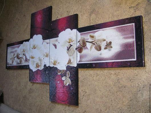 Картины цветов ручной работы. Ярмарка Мастеров - ручная работа. Купить Орхидея. Модульная картина стразами. Handmade. Тёмно-фиолетовый