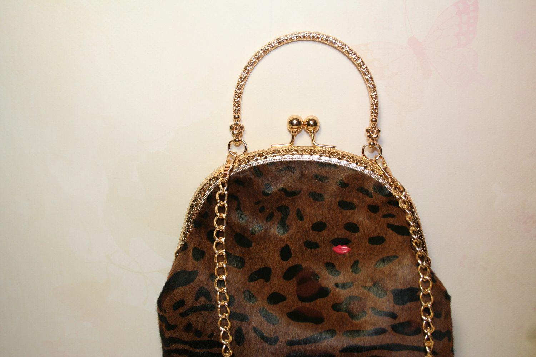 2d87e969988a Меховая сумочка, клатч, сумка, леопардовая сумочка, коричневая ...