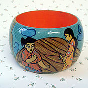 Украшения handmade. Livemaster - original item Wooden bracelet with painting