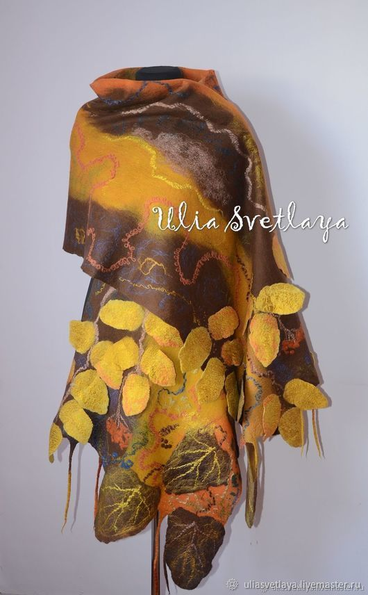 Milled stole 'Golden Autumn', Wraps, Zaporozhye,  Фото №1