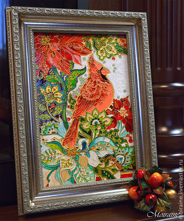 Рождественское панно с птичкой кардинал и пуансетиями.  В основе рисунок D.Galchutt. Витражная роспись керамической плитки (20х30 см). Витражные контуры, витражные лаки, гели, хрустальная паста.