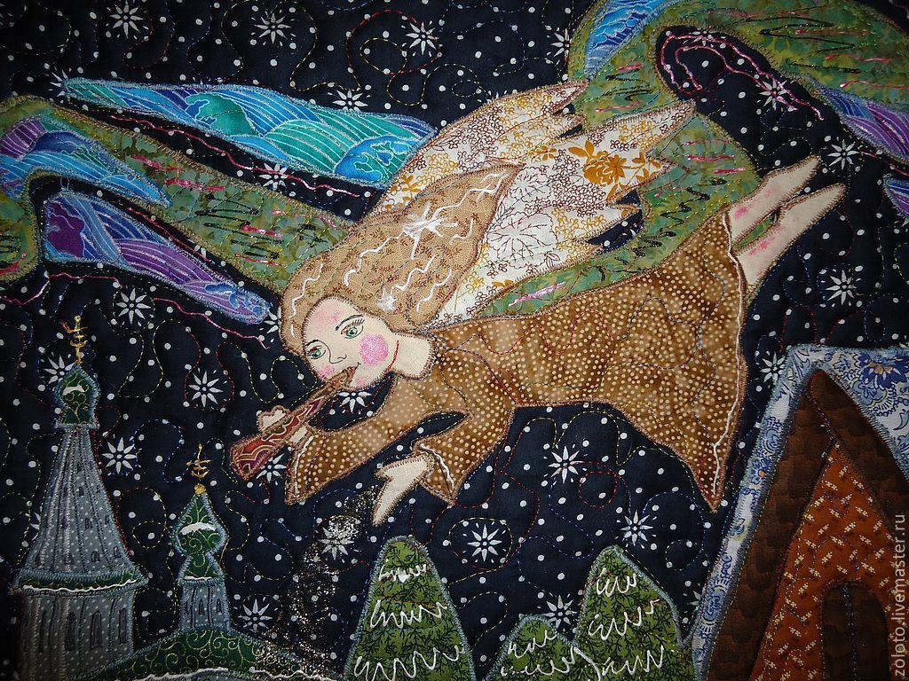 """Фэнтези ручной работы. Ярмарка Мастеров - ручная работа. Купить Панно """" Рождественская история"""". Handmade. Ангел, Снег, сияние"""