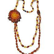 Работы для детей, handmade. Livemaster - original item Long Amber beads necklace woman flower natural stone amber jewelry. Handmade.