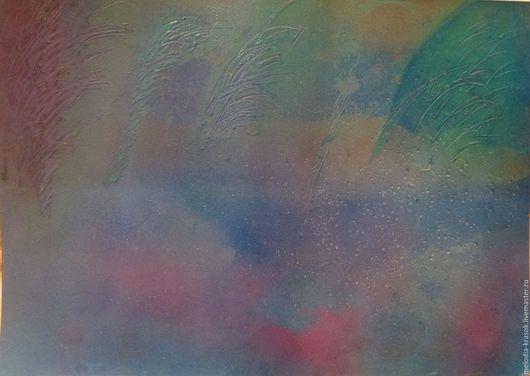 Пейзаж ручной работы. Ярмарка Мастеров - ручная работа. Купить Туманный закат. Handmade. Морская волна, картина, подарок, природа