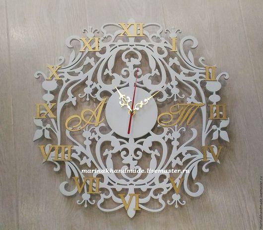 Часы для дома ручной работы. Ярмарка Мастеров - ручная работа. Купить Часы. Handmade. Белый, золотистый, часы авторские