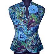 """Одежда ручной работы. Ярмарка Мастеров - ручная работа Валяный жилет """"Акварель"""" голубой нуновойлок. Handmade."""