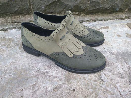Обувь ручной работы. Ярмарка Мастеров - ручная работа. Купить Брогированные лоферы AnnaChaqrua. Handmade. Оливковый, лоферы