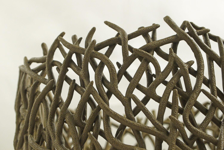 Wicker planters for flowers `Branches`. Woven ceramics Elena Zaichenko.