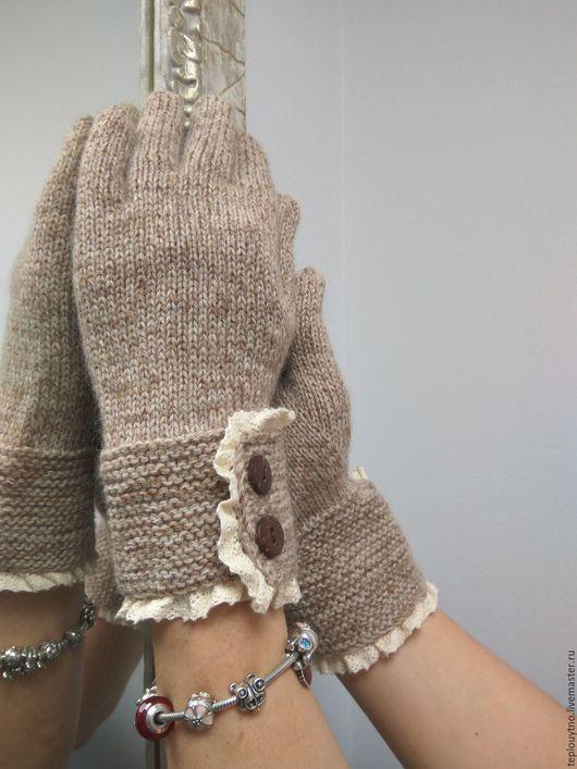 Варежки, митенки, перчатки ручной работы. Ярмарка Мастеров - ручная работа. Купить Перчатки вязаные экостиль. Handmade. Бежевый