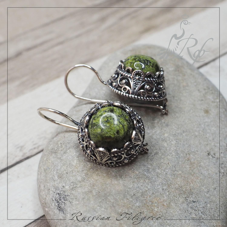 Earrings 'Stefania' Ural serpentine, silvering 12 microns, Earrings, Kostroma,  Фото №1