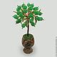 Дерево из нефрита в вазочке из оникса `Нефритовое счастье`