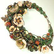 Украшения handmade. Livemaster - original item The Sun Waltz Of The Forest. Necklace made of natural stones, fabric flowers. Handmade.