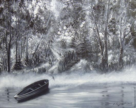"""Пейзаж ручной работы. Ярмарка Мастеров - ручная работа. Купить """"Лодка на лесном озере"""" (холст/масло). Handmade. Чёрно-белый"""