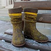 """Обувь ручной работы. Ярмарка Мастеров - ручная работа Сапожки укороченные """"Горчица 2"""". Handmade."""