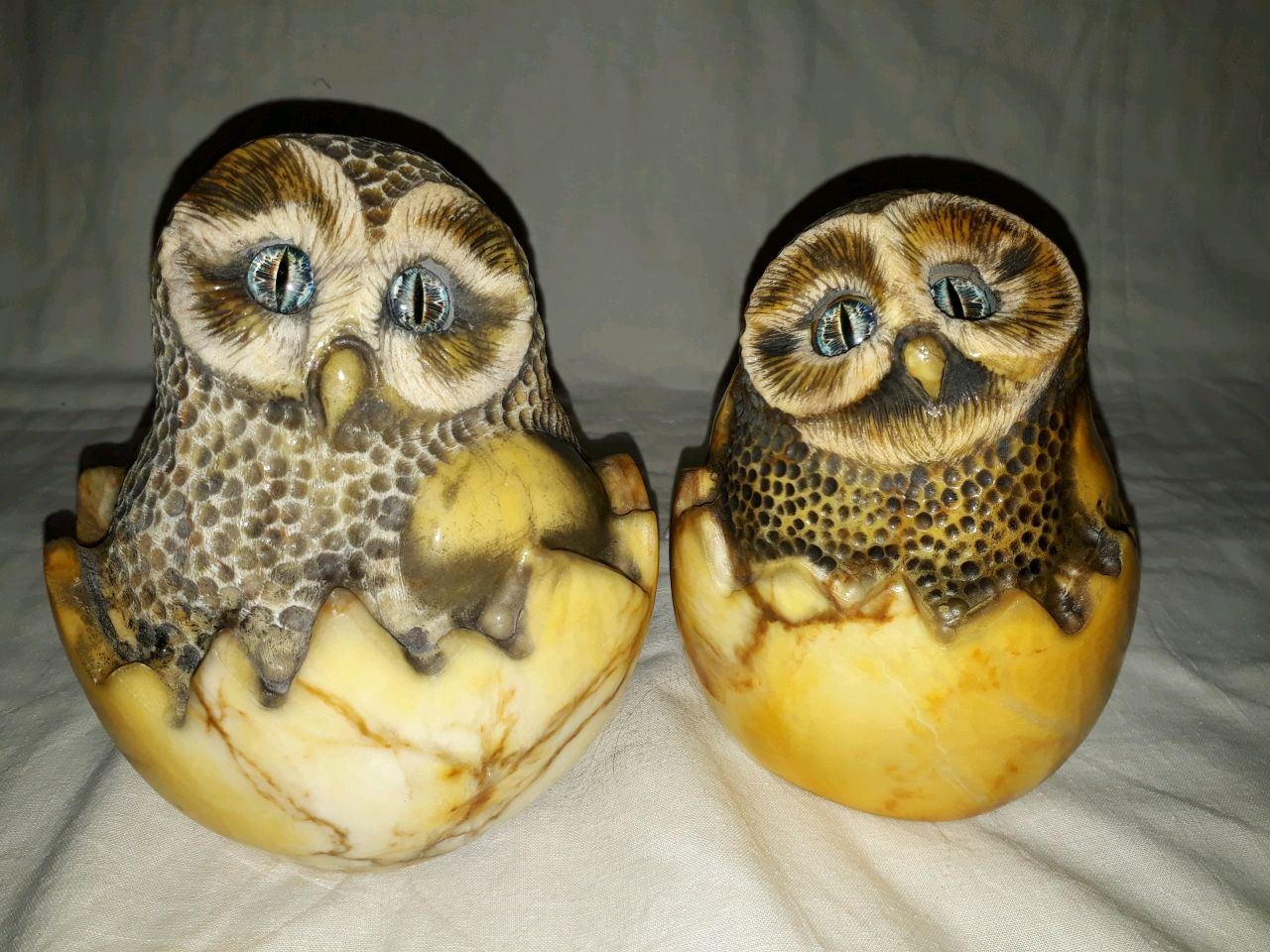Figure owl in egg made of natural Ural stone Anhydrite, Figurines, Horde,  Фото №1