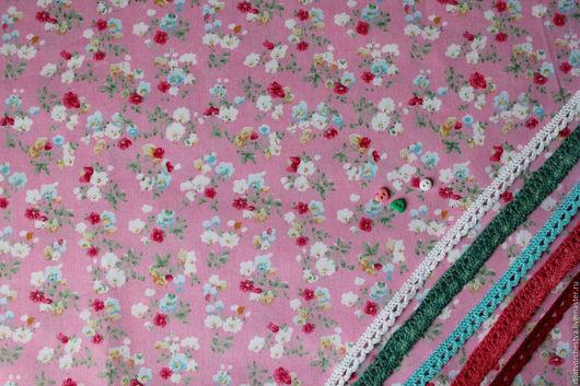 Шитье ручной работы. Ярмарка Мастеров - ручная работа. Купить Ткань. Handmade. Розовый, ткань хлопок, с цветочным узором