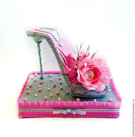 Персональные подарки ручной работы. Ярмарка Мастеров - ручная работа. Купить Туфелька из конфет. Handmade. Розовый, туфелька, женщине подарок