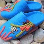 """Обувь ручной работы. Ярмарка Мастеров - ручная работа Валяные тапочки"""" Подводный мир"""". Handmade."""