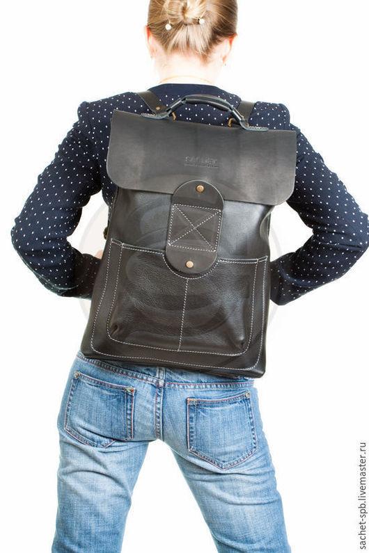 Рюкзаки ручной работы. Ярмарка Мастеров - ручная работа. Купить Чёрный кожаный рюкзак Спэйс. Handmade. Черный, рюкзак унисекс