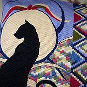 """Подушки ручной работы. Ярмарка Мастеров - ручная работа Плоская подушка """"Черный кот"""". Handmade."""