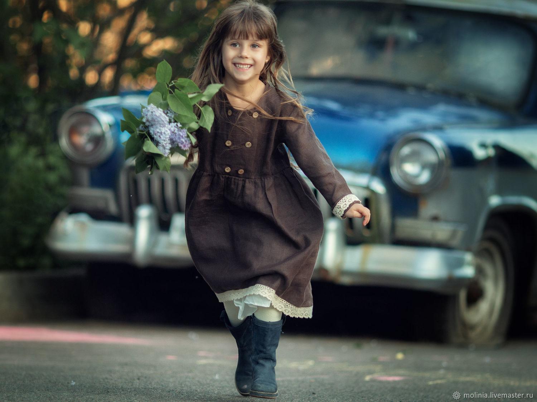 Платье для девочки льняное детское – купить на Ярмарке Мастеров – LFLFIRU | Платье, Калининград