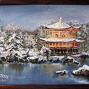 Картины и панно handmade. Livemaster - original item Oil painting picture frame PAGODA IN the MOUNTAINS. Handmade.