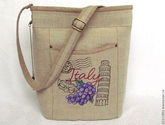 """Женские сумки ручной работы. Ярмарка Мастеров - ручная работа. Купить Сумка женская льняная """"Италия"""" с  вышивкой. Handmade."""