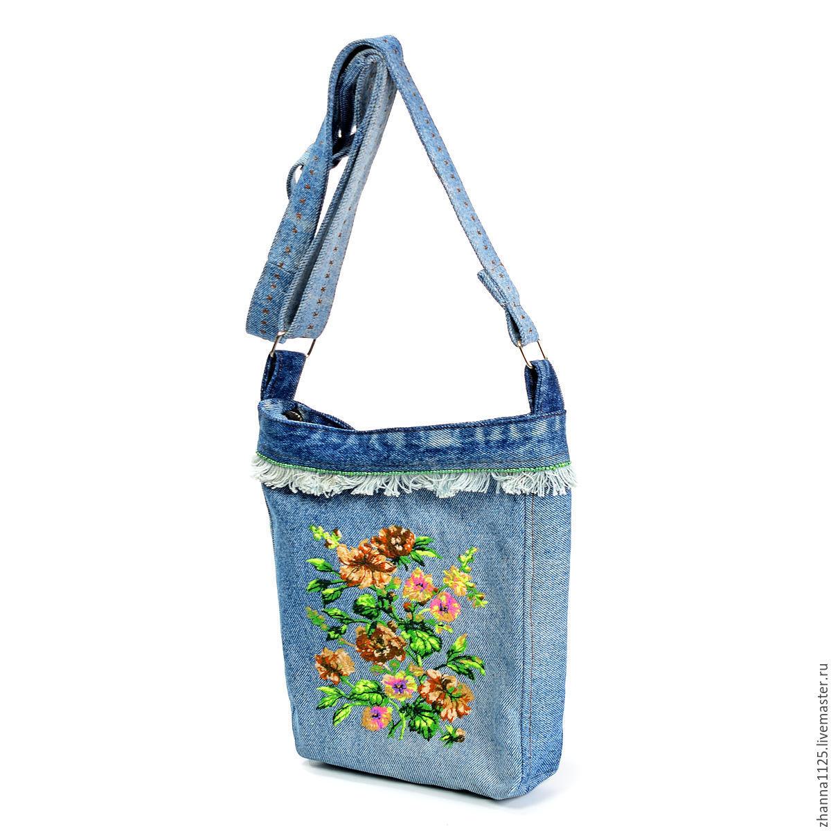 f610546a476d Сумка джинсовая ручной работы. Купить джинсовую бохо сумку `Романтика`.  Джинсовая сумка ...