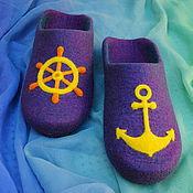 """Обувь ручной работы. Ярмарка Мастеров - ручная работа """"По морям, по волнам!"""" Мужские валяные тапочки.. Handmade."""