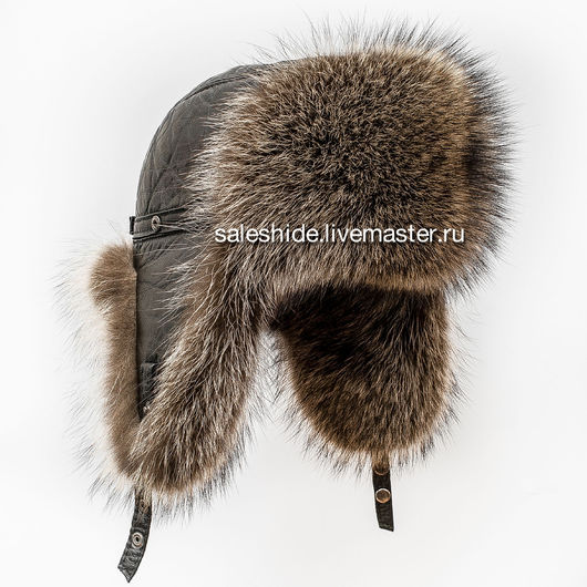 Шапки ручной работы. Ярмарка Мастеров - ручная работа. Купить Мужская шапка-ушанка из меха енота полоскуна. Handmade.