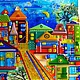 City handmade. Order panels of glass, fusing childhood City'. LiliaGorbach Glass. Livemaster. Fusing, ultramarine, stained glass