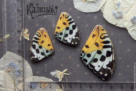 Для украшений ручной работы. Ярмарка Мастеров - ручная работа. Купить Подвески, бабочки, набор из 3 кулонов.. Handmade. Желтый