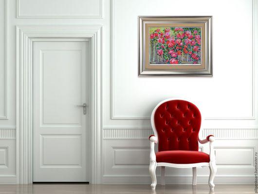 Картины цветов ручной работы. Ярмарка Мастеров - ручная работа. Купить Акварель «Садовые розы». Handmade. Коралловый, картина в гостинную