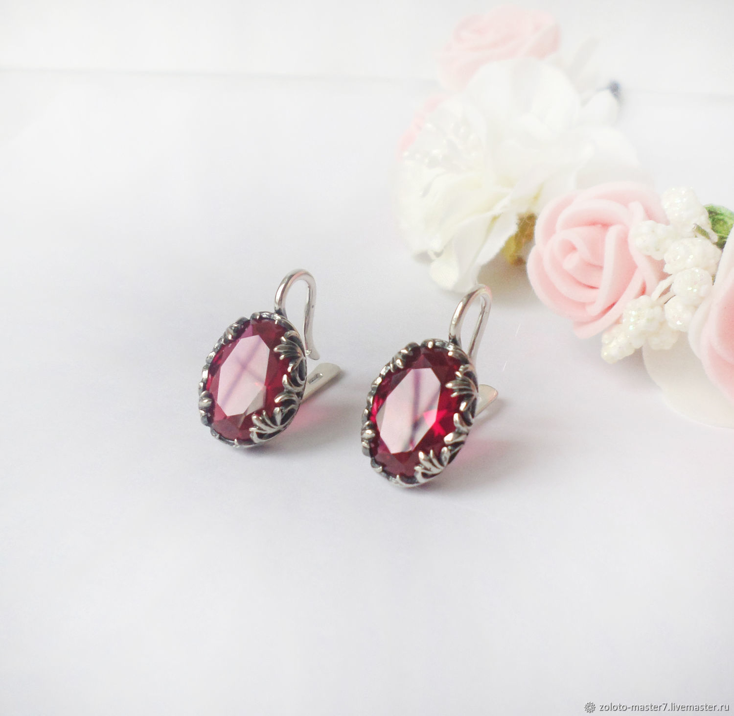 Earrings with rubies. 925 sterling silver, Earrings, Chaikovsky,  Фото №1